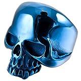 MunkiMix Acero Inoxidable Anillo Ring Azul Cráneo Calavera Talla Tamaño 35 Hombre