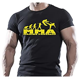 Herren Bodybuilder T-Shirt, Aufschrift: MMA MAKING PROGRESS