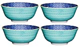 Kitchencraft piedino zig-zag/spotty-patterned ciotole, 15.5 cm (15,2 cm), set da 4 pezzi, in ceramica, 15.5 x 15.5 x 7.5 cm, colore: Blu/Verde