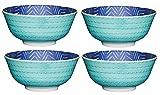 Kitchencraft piedino zig-zag/spotty-patterned ciotole, 15.5cm (15,2cm), set da 4pezzi, in ceramica, 15.5x 15.5x 7.5cm, colore: Blu/Verde