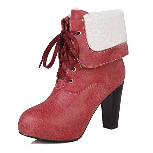 AgooLar Damen Schnüren Hoher Absatz Rein Knoten Niedrig-Spitze Stiefel, Rot, 38
