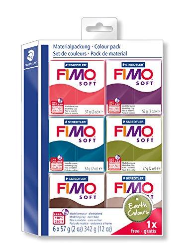 Staedtler 802327-Pasta da Modellare-Fimo Soft, 6Blocchi Normal, Earth Colore