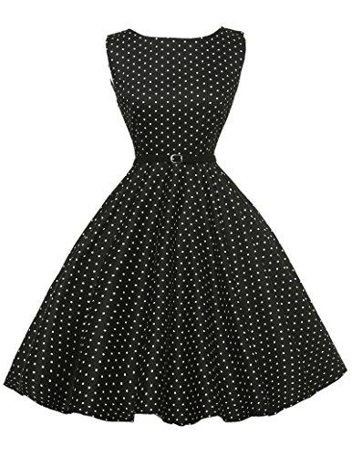 Rockabilly kleid knielang swing-kleid schwarz 50s retro vintage ballkleider abendkleider Größe 3XL CL6086-3