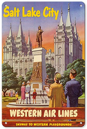 Aluminum Sign, Metal Sign, Vintage Tin Sign - Salt Lake City, Utah - Western Air Lines - Skyway to Western Playgrounds - Temple Square Brigham Young Statue Retro Sign ()
