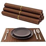 Decohaus Praktisches 6er Platzset für Kinder und Erwachsene - rutschfeste, abwischbare Tischsets aus Kunststoff - Dekorative Platzdeckchen als Unterlage für Teller auf dem Esstisch (Braun 6er Set)