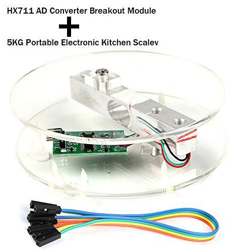 Breakout-modul (Digitaler Wägezellen-Gewichtssensor HX711 AD Wandler Breakout Modul Tragbare elektronische Küchenwaage 5KG für Arduino-Skala)
