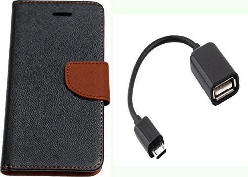 Novo Style Fancy Diary Wallet Flip Cover Case For Motorola Moto G Black + Micro USB OTG Cable Attach pendrive Card Reader Mouse Keyboard to Tablets Mobile  available at amazon for Rs.310