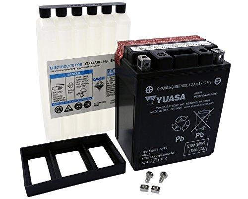 Batterie YUASA - YTX14AH-BS wartungsfrei für ARTIC CAT Jag Liquid Baujahr 96 [inkl. 7,50 EUR Batteriepfand] -