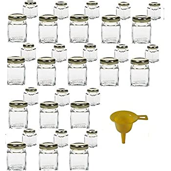 Lot de 32 mini pots 50ml pour confiture ou marmelade avec entonnoir jaune