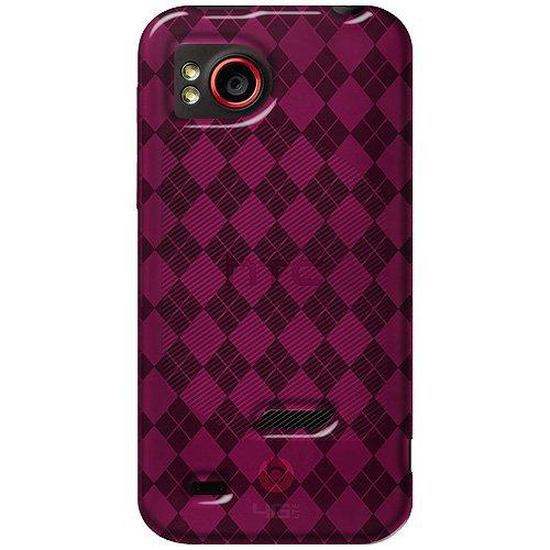 Amzer amz92821Hot Pink Luxe Argyle Hochglänzende TPU Soft Gel Skin Fit Schutzhülle für HTC Rezound–Verkaufsverpackung–Hot Pink