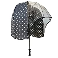 windproof dome umbrella Black polkadot - tested strong lightweight vented canopy free carrying shoulder sleeve. by Rainshader