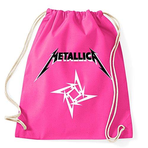 Art T-shirt, Zaino Sacca Metallica Logo, Fucsia