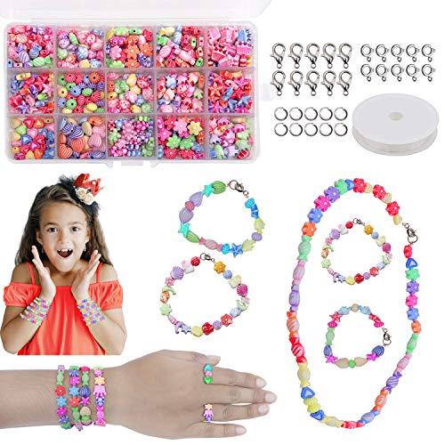 Perlen zum Auffädeln DIY Perlen Set - Armbänder Selber Machen Kinder Schmuck Schnurset, Buchstaben Perlenschmuck Schmuckbasteln, Geburtstagsgeschenk für Mädchen mit Box