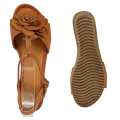 Damen Keilsandaletten Glitzer | Sandaletten Denim Bast Leder-Optik | Blumen Keilabsatz Sandalen | Metallic Wedges Strass Hellbraun Blumen
