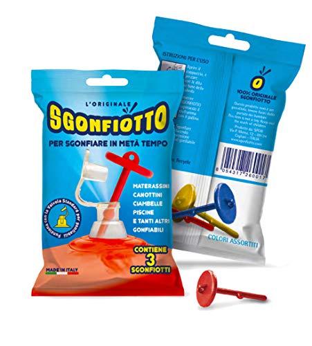 Sgonfiotto l'unico originale - confezione da 3 - per sgonfiare facilmente materassini, canottini, ciambelle, gonfiabili per bambini, animali gonfiabili, gonfiabili da mare e piscina in genere.