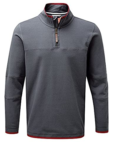 Cotton Traders Mens Heavy Pique Top Casual Stand Collar Half Zip Pre-Washed Dark Slate L