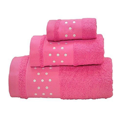 Lunares Toallas De Baño De 4piezas–Juego de 2hojas de baño + 2toallas de mano–Lila W/blanco
