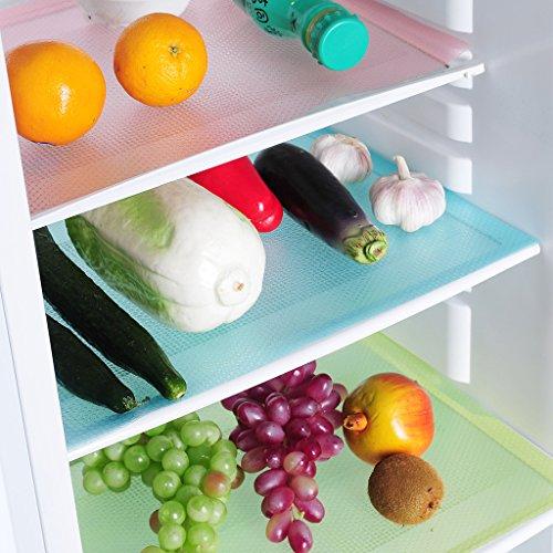 EVIICC 4 Stück Waschbare Multifunktional Kühlschrank Matte Küche Esstisch Matten Antibakterielle Antifouling Mildew