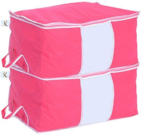 Kuber Industries 2 Piece Non Woven Storage Organiser, Pink