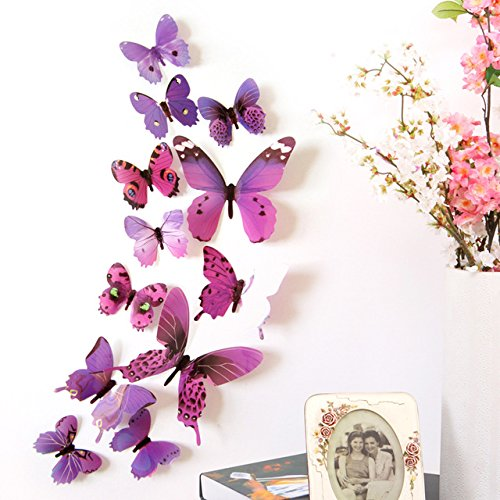 DALUCI 12pcs Decal Wall Stickers Home Decorations 3D Butterfly Rainbow PVC Wallpaper...