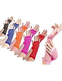 Largo Rejilla dedo guantes de menos (Rojo)