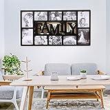 Multi Bilderrahmen Collage Bildergalerie Fotowand Wandgalerie Fotorahmen Familie Fotocollage für 10 Fotos Liebestammbaum für Hochzeit Familie Kinder, schwarz