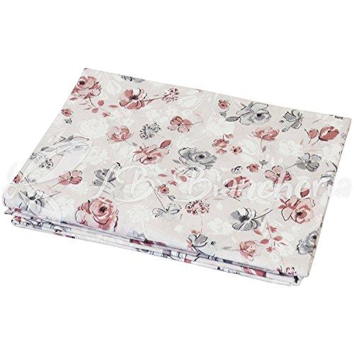 Telo arredo copritutto lidia flowers - made in italy - cotone a trama fitta - misura 2 piazze cm 260x280 - rosa