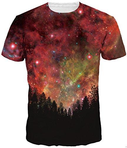 TDOLAH Herren Slim Fit 3D Farbspritzer Druck Muster T-Shirts Kurzarm Top (S (TAG S/M ), Wälder-roter (Oktoberfest Kostüme Himmel)