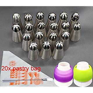 Russian Icing Piping Tips, Aixin Stainless Steel Large Size Russian Piping Ball Tips + 1x Brush + 10x Pastry Disposible Bag + 2x Coupler Syringe Set Nozzle (19 ball tips+20bag+2coupler)