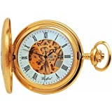 Woodford Skeleton Half-Hunter Pocket Watch, 1021, Men's Gold-Plated  with Chain (Suitable for Engraving)