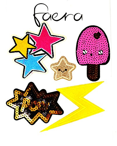 shoes4friends Damen Vintage Tasche Shopper Schultertasche Trendsetter Sticker braun Sticker Stern
