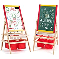 COSTWAY 3-in-1 Wooden Kids Art Easel with Paper Roller, Double Sided Chalkboard Painting Blackboard, Children Educational Toys Gifts