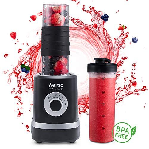 Smoothie Maker, Aeitto Mini Blender 500W Mini Mixer mit 2 X 520ml Reise Sport Flaschen BPA-frei Tritan-Trinkflasche, 3 einstellbare Geschwindigkeit