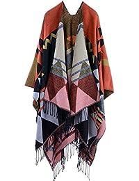 Mochoose Poncho Cape Tricot Châle Plaid Écharpe Couverture Wrap Tartan  Chaude Frange Hiver Femme f049449ba28