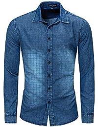 Camisa de algodón de Manga Larga de Mezclilla de los Hombres Nostalgic  Military Shirt (tamaño 6e5628c523