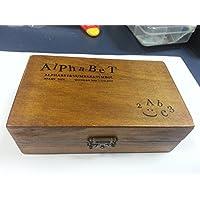 Youarebb - Juego de sellos de goma (70 unidades, caja de madera vintage, letras del alfabeto, manualidades)