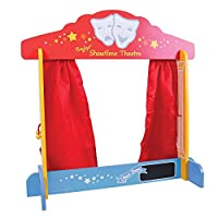 Bigjigs Toys BJ339 Wooden Table Top Theatre - Puppet Show, Finger Puppets