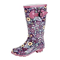 STORMWELLS Girls Kids Pink Wellington Wellies Long Boots Floral Print Size UK 11-2