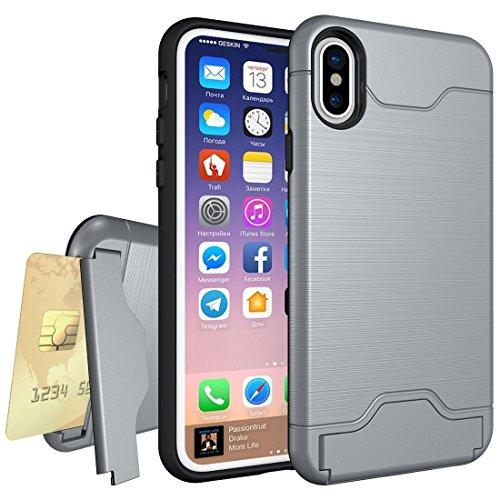 GR iPhone 8 Cover Case-Brushed Texture Schutzhülle mit Halter und Kartenfach, kleine Menge empfohlen, bevor das iPhone 8 startet ( Color : Green ) Grey