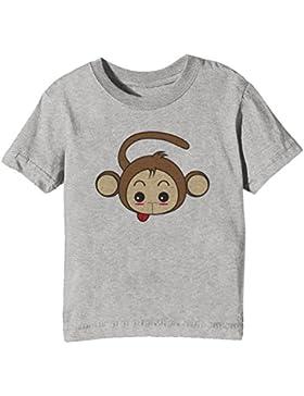 Mono Niños Unisexo Niño Niña Camiseta Cuello Redondo Gris Manga Corta Todos Los Tamaños Kids Unisex Boys Girls...