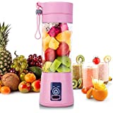 Portable Blender Juicer Cup Fruit, Smoothie Baby Food Mixing Machine with Powerful Motor (Pink)