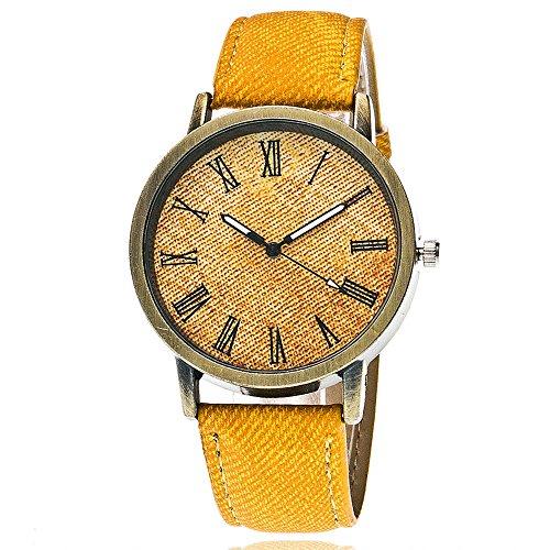 IG-Invictus Liebhaber Quarz Analog Handgelenk Delicate Watch Luxus-Business-Uhren YE Männer und Frauen Paar Uhren römischen Waagen Denim Gürtel Punk Uhren gelb
