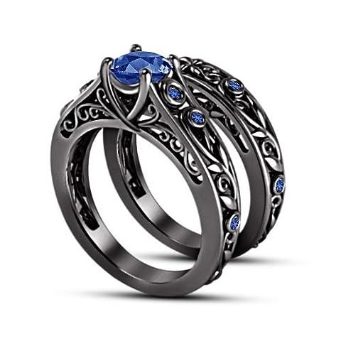 Vorra Fashion Liebenswürdig, rund blau Saphir schwarz rhodiniert 925Silber Hochzeit Ring Set