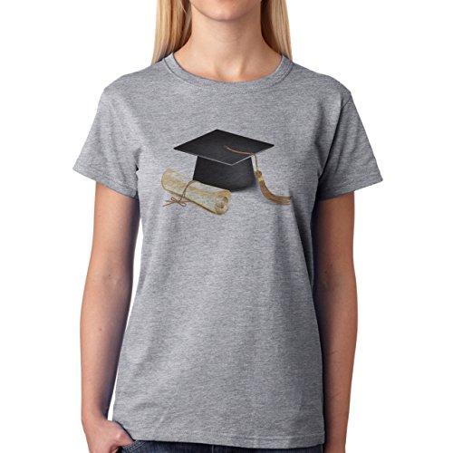 Free Vector Graduation Cap And Diploma Damen T-Shirt Grau