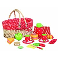 Childrens Wooden Food: Strawberry Picnic Set. Ideal Pretend Food / Tea set Gift For Girls of 3years. Great Dolls food for Dolls and Teddy Bears Picnics