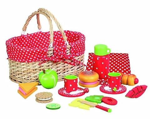 Enfants alimentaire Bois: Set de pique-nique Fraise. Idéal Pretend Alimentation / Tea set cadeau pour des filles de trois années. Grande Dolls nourriture pour Poupées et Ours