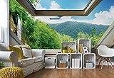 Wasserfall Wald 3D-Dachfenster-Ansicht Fototapete Fotomural - Wandbild - Tapete - 368cm x 254cm / 4 Teilig - Gedrückt auf 115gsm Muralpapier - 10413P8 - Seen und Wasserfälle