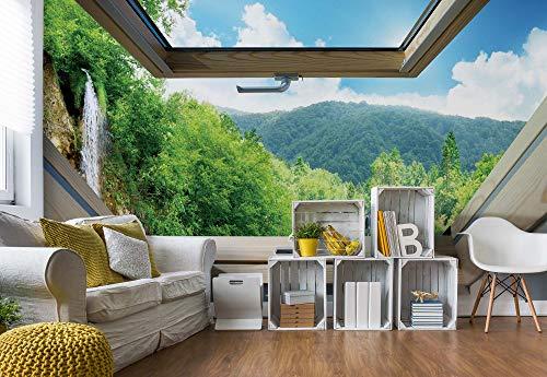 fototapete dachfenster Wasserfall Wald 3D-Dachfenster-Ansicht Fototapete Fotomural - Wandbild - Tapete - 368cm x 254cm / 4 Teilig - Gedrückt auf 115gsm Muralpapier - 10413P8 - Seen und Wasserfälle