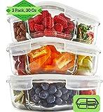Glas Lebensmittelbehälter mit 3 Fächern und Deckel [3er Pack, 950ml] - Glasbehälter, Glas Mahlzeit Prep Container, Glas-Lebensmittel-Box, Brotzeitboxen, Bento Lunchbox, Frischhaltedosen Luftdicht