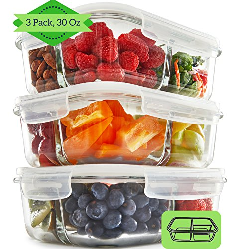 3 Compartment Glass Meal Prep Containers (3 Pack, 950 ML) - Food Storage...